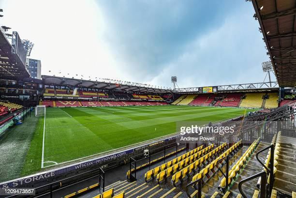 General view before the Premier League match between Watford FC and Liverpool FC at Vicarage Road on February 29, 2020 in Watford, United Kingdom.
