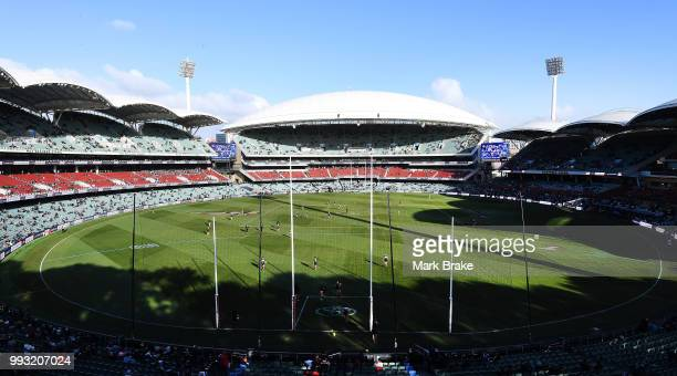 General view before the round 16 AFL match between the Port Adelaide Power and the St Kilda Saints at Adelaide Oval on July 7 2018 in Adelaide...