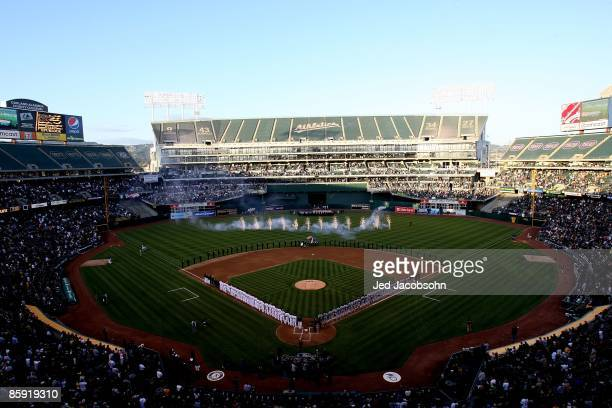 A general view before the Seattle Mariners and the Oakland Athletics Opening Day Major League Baseball game on April 10 2009 at the Oakland Coliseum...