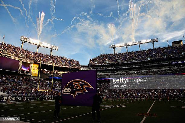 A general view before the start of the Baltimore Ravens and New Orleans Saints preseason game at MT Bank Stadium on August 13 2015 in Baltimore...