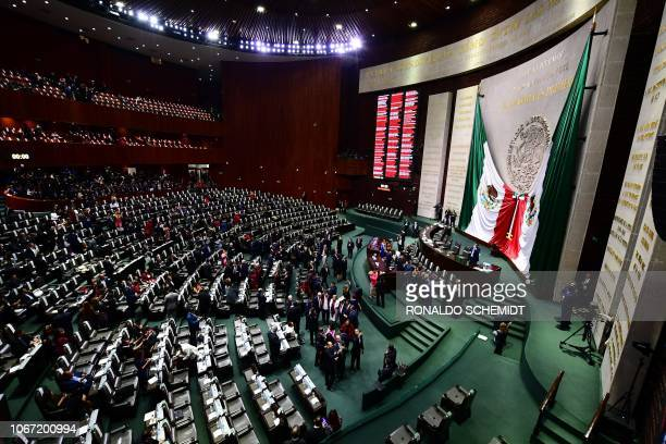 General view before the start of the inauguration ceremony of Mexico's President Andres Manuel Lopez Obrador at the Congress of the Union in Mexico...