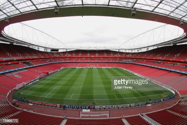 General view before the UEFA Champions League last 16 round match between Arsenal and PSV Eindhoven at The Emirates Stadium on March 7, 2007 in...