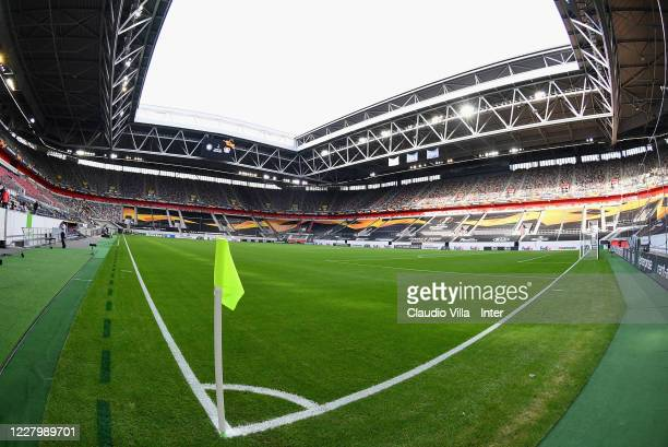 General view before the UEFA Europa League Quarter Final between Inter and Bayer 04 Leverkusen at Merkur Spiel-Arena on August 10, 2020 in...