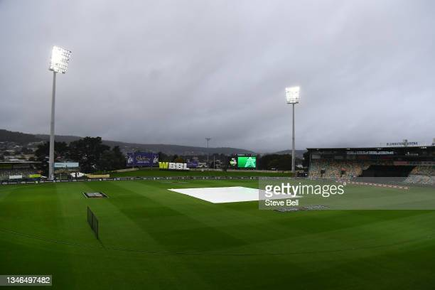 General view before the Women's Big Bash League match between the Sydney Sixers and the Melbourne Stars at Blundstone Arena, on October 14 in Hobart,...
