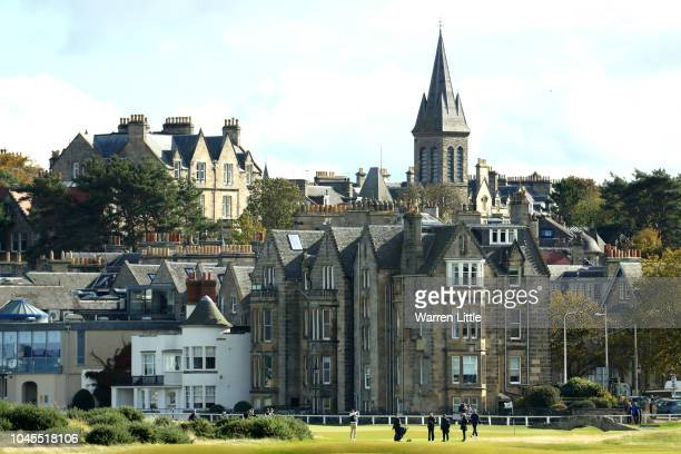General view behind the 2nd tee during day one of the 2018 Alfred Dunhill Links Championship at The Old Course on October 4, 2018 in St Andrews,...