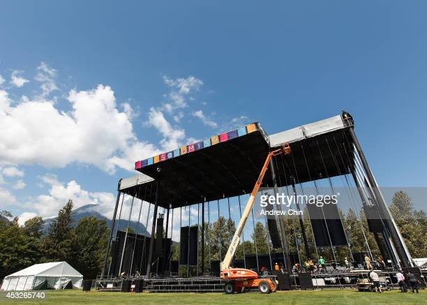 A general view behind the scenes of festival organizers preparing for Squamish Valley Music Festival on August 6 2014 in Squamish Canada