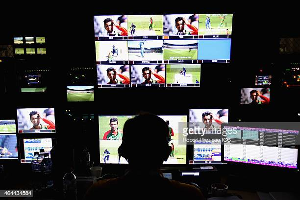A general view behind the scenes of the host broadcaster during the 2015 ICC Cricket World Cup match between Sri Lanka and Bangladesh at Melbourne...