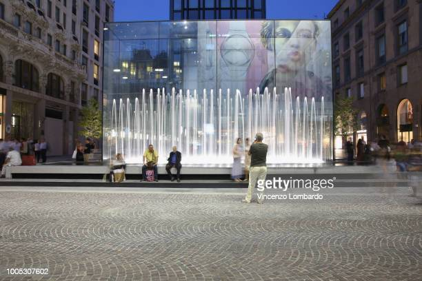 A general view between during Apple store opening in Milan at Piazza Liberty on July 25 2018 in Milan Italy