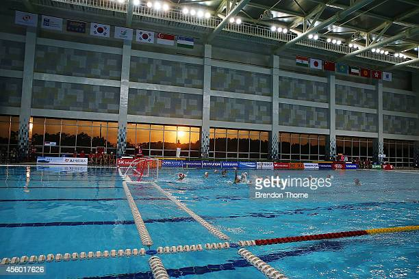 A general view bewteen Japan and Singapore in the Women's Single Round Robin Waterpolo during day five of the 2014 Asian Games at Dream Park Aquatics...