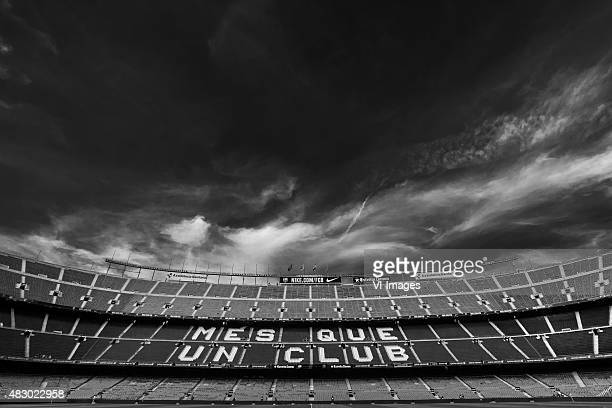 General View Camp Nou home of FC Barcelona Black White filter Edit during the Joan Gamper Trophy match between Barcelona and AS Roma on August 5 2015...