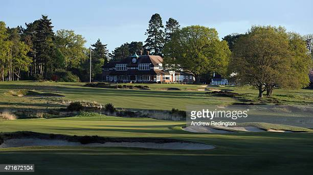 A general view/ course scenic of the 17th green and 18th holes and clubhouse on the Old Course at Sunningdale Golf Club on April 30 2015 in...