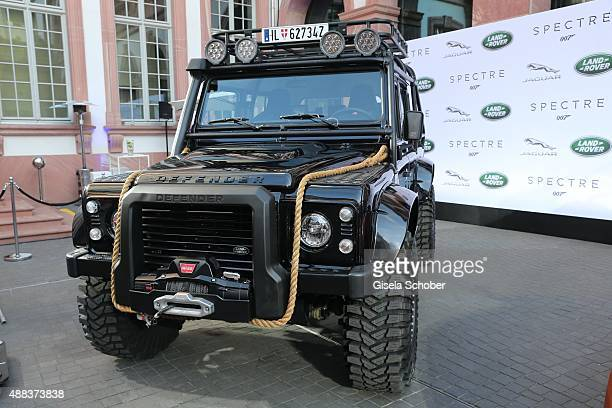 A general view Defender during the presentation of the Jaguar Land Rover vehicles starring in the new Bond film 'Spectre' on September 15 2015 in...