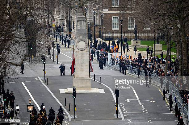 A general view down Whitehall at The Cenotaph during the Ceremonial funeral of former British Prime Minister Baroness Thatcher at Parliament Square...