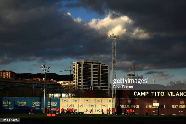 A general view during a Barcelona training session ahead of their UEFA Champions League Round of 16 match against Chelsea at Nou Camp on March 13...