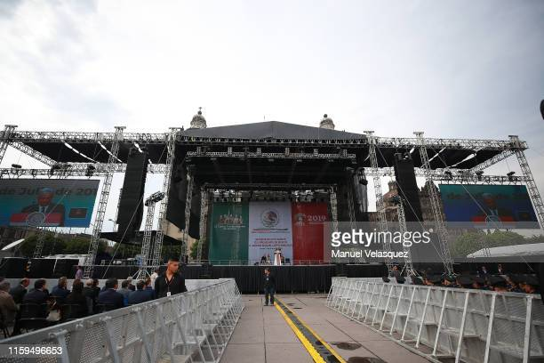 General view during a ceremony to celebrate the first anniversary of the President of Mexico Andres Manuel Lopez Obrador at Zocalo on July 01 2019 in...