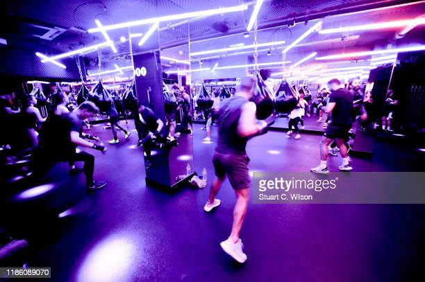 A general view during a charity KOBOX class at KOBOX Marylebone raising funds for Rainbow Railroad a charity which helps members of the LGBTQ...
