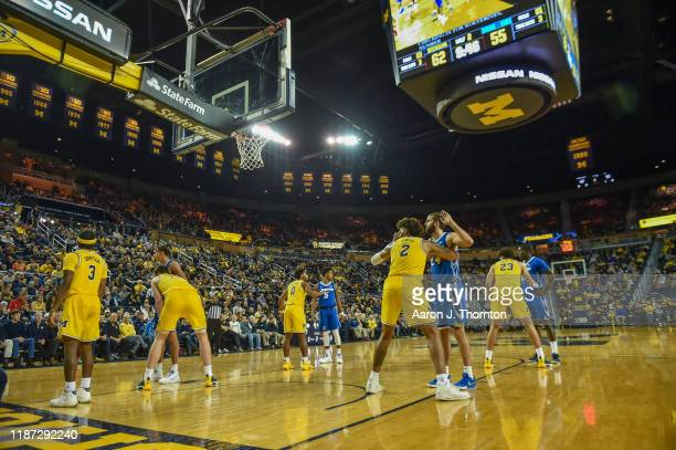 General view during a college basketball game between the Creighton Bluejays and the Michigan Wolverines at Crisler Arena on November 12, 2019 in Ann...