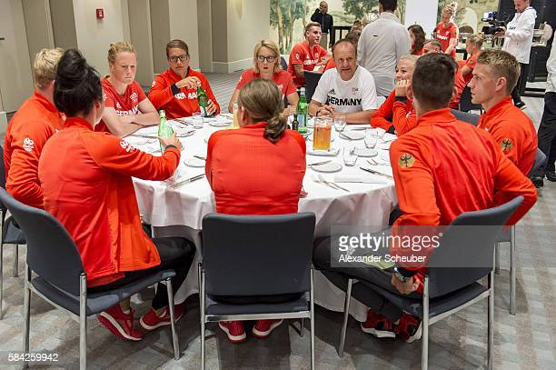 A general view during a dinner attended by Germany's Olduring a dinner attended by Germany's Olympic Men's and Women's soccer teams on July 28 2016...