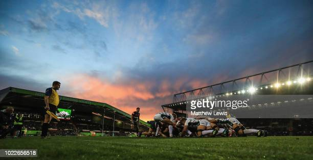 A general view during a friendly match between Leicester Tigers and London Irish at Welford Road on August 24 2018 in Leicester England