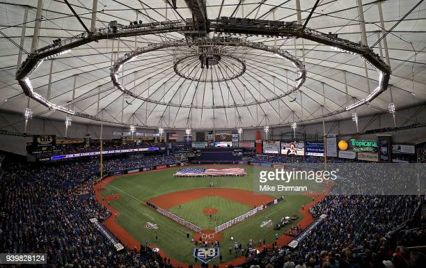 A general view during a game between the Tampa Bay Rays and the Boston Red Sox on Opening Day at Tropicana Field on March 29 2018 in St Petersburg...
