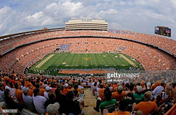 General view during a game between the UCLA Bruins and the Tennessee Volunteers on September 12, 2009 at Neyland Stadium in Knoxville, Tennessee. The...