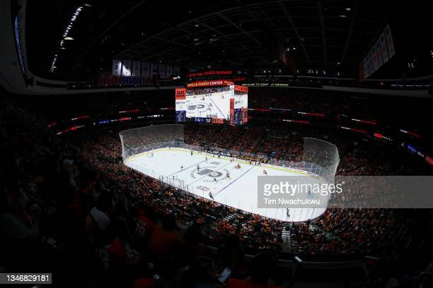 General view during a game between the Vancouver Canucks and Philadelphia Flyers at Wells Fargo Center on October 15, 2021 in Philadelphia,...