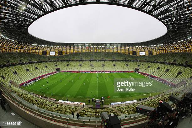 General view during a Germany training session ahead of their UEFA EURO 2012 quarter-final match against Greece, at Municipal Stadium on June 21,...