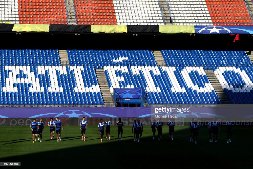 A general view during a Leicester City training session ahead of their UEFA Champions League Quarter-Final match against Atletico Madrid at Vicente Calderon Stadium on April 11, 2017 in Madrid, Spain.