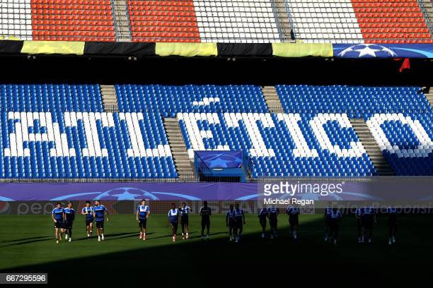 A general view during a Leicester City training session ahead of their UEFA Champions League QuarterFinal match against Atletico Madrid at Vicente...
