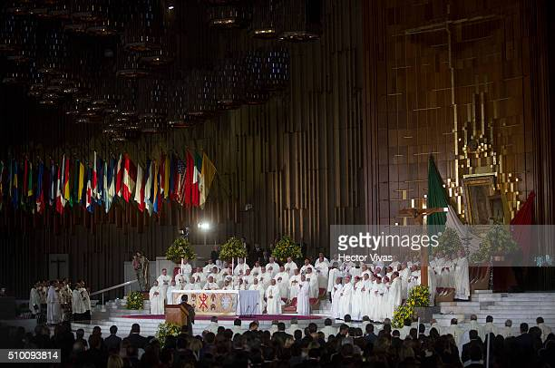 General view during a mass for the people at Basilica de Guadalupe on February 13 2016 in Mexico City Mexico Pope Francis is on a fiveday visit in...