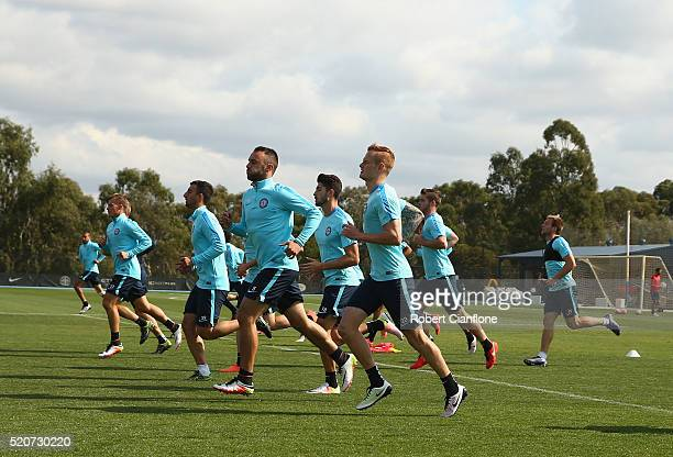 A general view during a Melbourne City ALeague training session at City Football Academy on April 13 2016 in Melbourne Australia