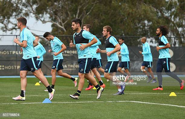 A general view during a Melbourne City ALeague training session at City Football Academy on April 21 2016 in Melbourne Australia