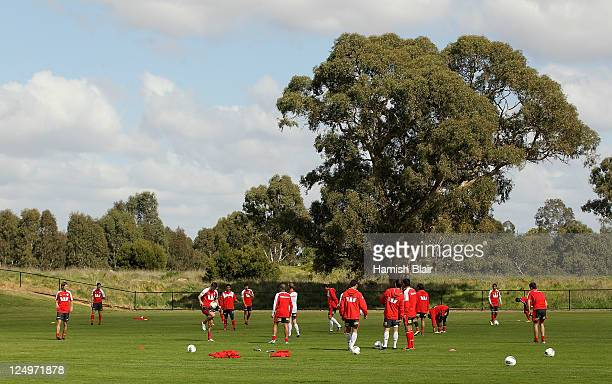 A general view during a Melbourne Heart ALeague training session at La Trobe University Sports Fields on September 15 2011 in Melbourne Australia