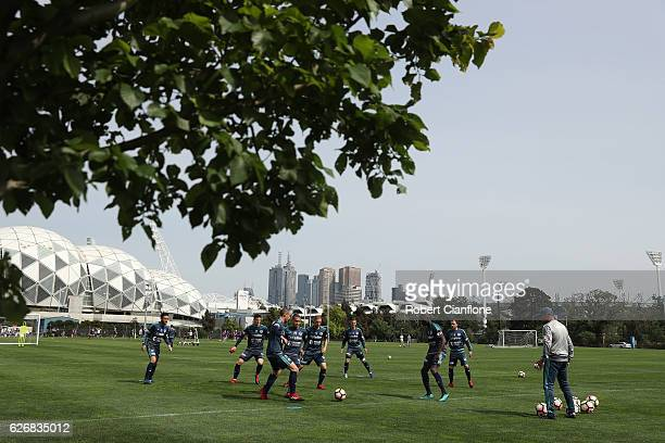 A general view during a Melbourne Victory ALeague training session at Gosch's Paddock on December 1 2016 in Melbourne Australia