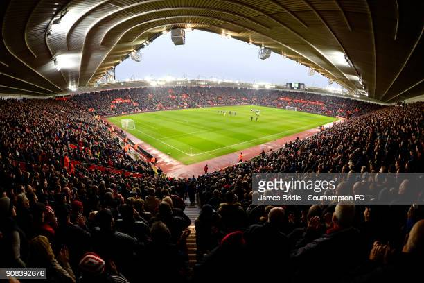 General View during a minutes clapping in the memory of Cyrille Regis ahead of the Premier League match between Southampton and Tottenham Hotspur at...