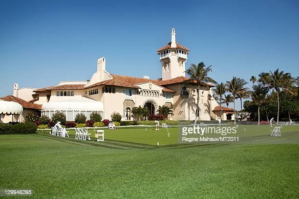 General view during a photo shoot with Donald Trump and Melania Trump at the MaraLago Club on March 26 2011 in Palm Beach Florida Melania's clothes...
