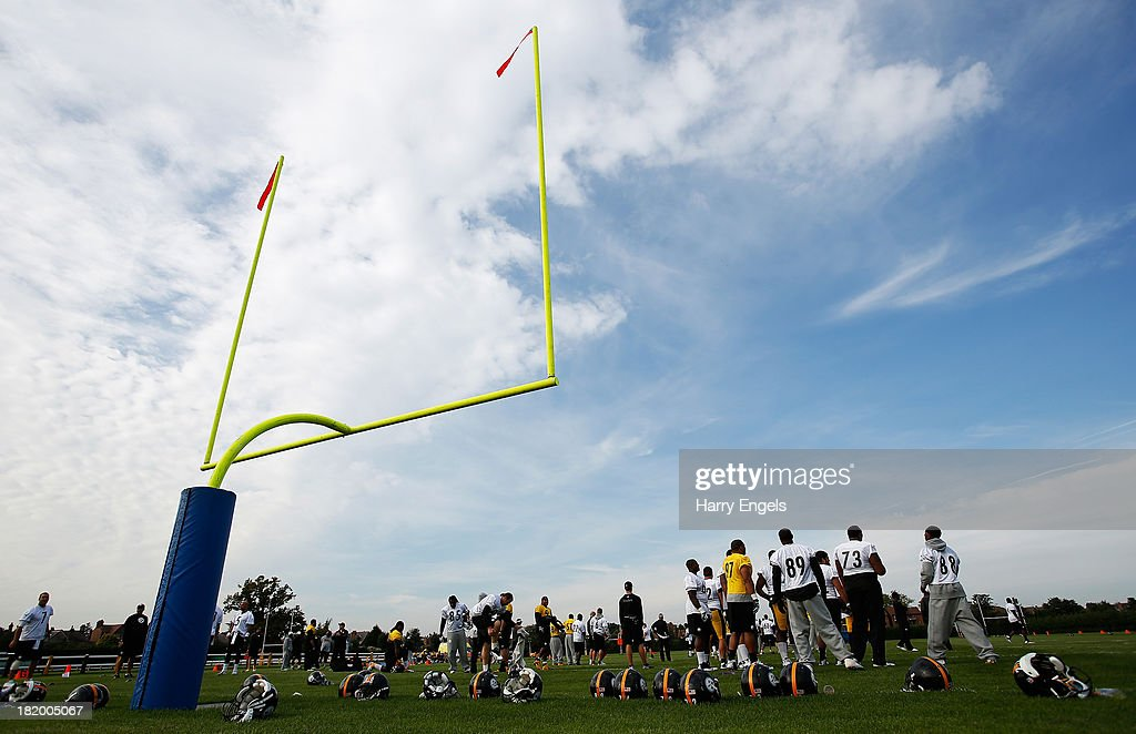 A general view during a Pittsburgh Steelers training session at the Twyford Avenue Sports Ground on September 27, 2013 in London, England.