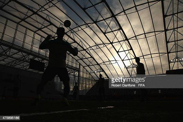 General view during a Portugal U-20s training session at Otago Stadium on June 5, 2015 in Dunedin, New Zealand.