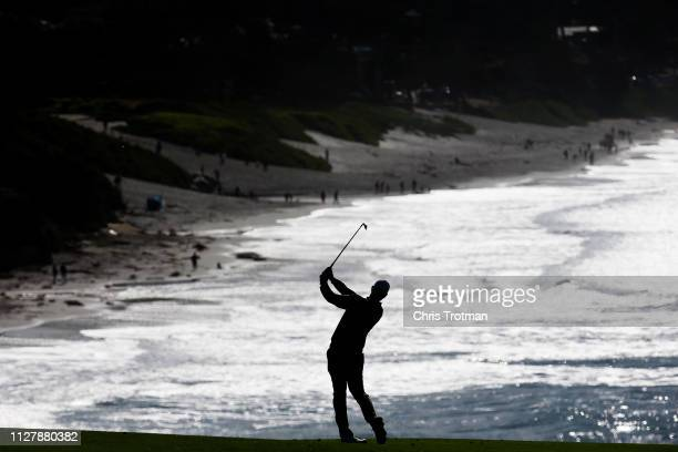 A general view during a practice round prior to the ATT Pebble Beach ProAm at Pebble Beach Golf Links on February 06 2019 in Pebble Beach California