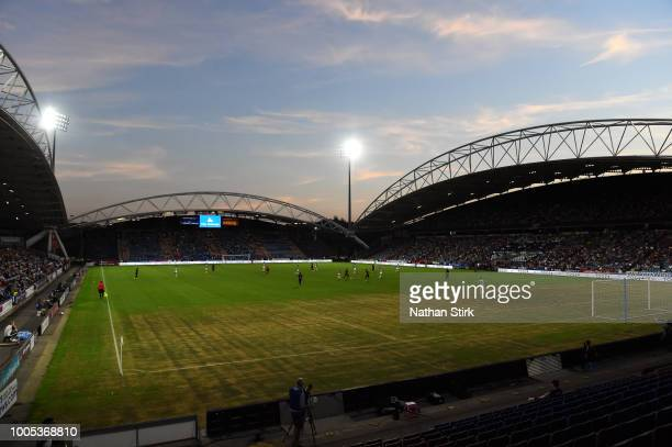 A general view during a preseason friendly match between Huddersfield Town and Olympique Lyonnais at John Smith's Stadium on July 25 2018 in...