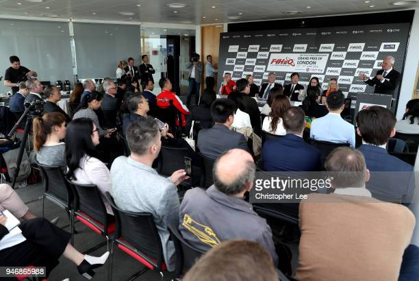 A general view during a press conference during the UIM F1H2O Grand Prix Of London Launch in London on April 16 2018 in London England