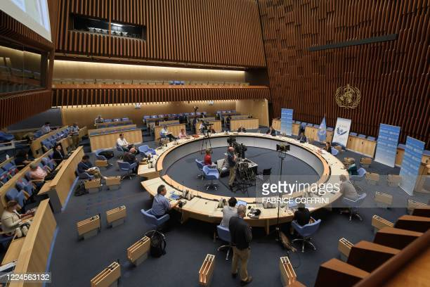 General view during a press conference of the World Health Organization organised by the Geneva Association of United Nations Correspondents amid the...