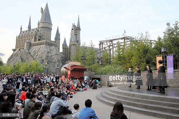 A general view during a press preview of the new interactive attraction 'Wand Magic' at the area of 'The Wizarding World of Harry Potter' at the...