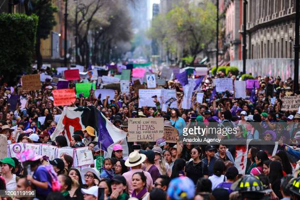 General view during a protest on the International Women's Day in Mexico City Mexico on March 8 2020