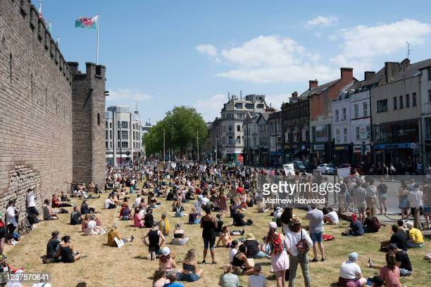 A general view during a protest outside Cardiff Castle in response to the death of George Floyd on May 31 in Cardiff Wales AfricanAmerican George...