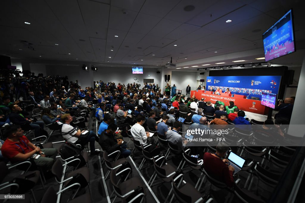 A general view during a Russia press conference ahead of the 2018 FIFA World Cup opening match against Saudia Arabia at Luzhniki Stadium on June 13, 2018 in Moscow, Russia.