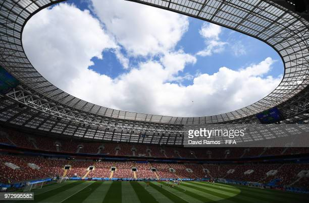 A general view during a Russia training session ahead of the 2018 FIFA World Cup opening match against Saudia Arabia at Luzhniki Stadium on June 13...