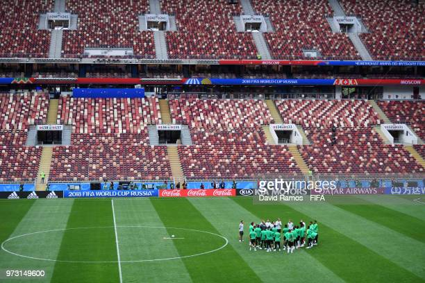 A general view during a Saudi Arabia training session ahead of the 2018 FIFA World Cup opening match against Russia at Luzhniki Stadium on June 13...