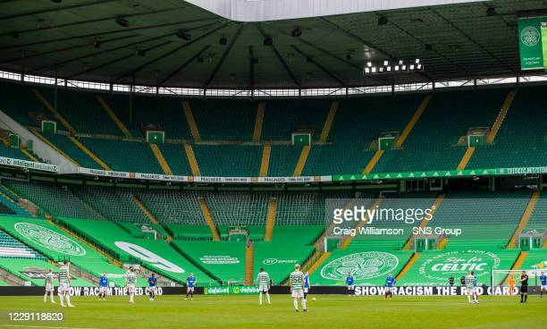 General view during a Scottish Premiership match between Celtic and Rangers at Celtic Park, on October 17 in Glasgow, Scotland.