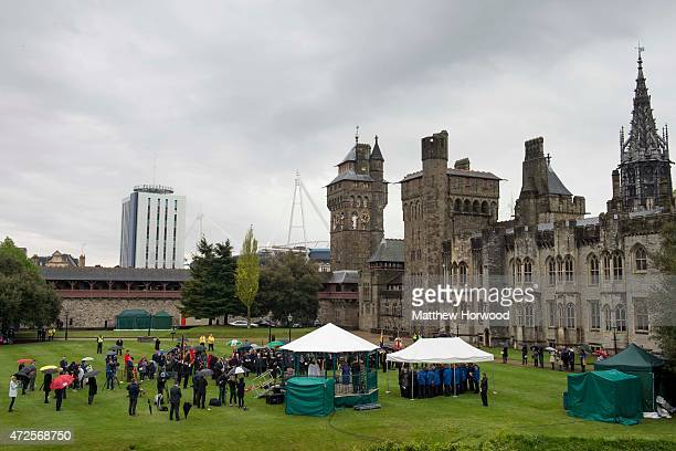 A general view during a service at Cardiff Castle to mark the 70th anniversary of VE Day on May 8 2015 in Cardiff Wales Great Britain now starts...